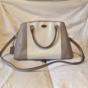 White & Taupe Coach Tote Purse